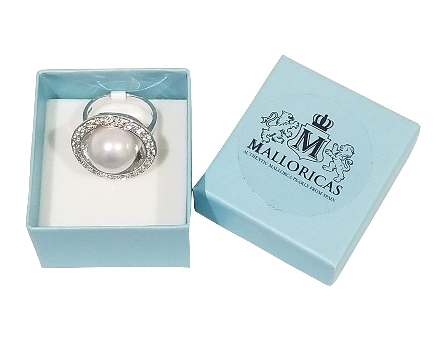 Malloricas Authentic Pearls Every Day Sun Silver Pearl Zirconia Ring