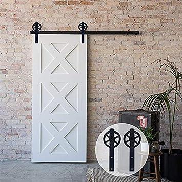Portes coulissantes Mat/ériel Trousse Unique patin /à roulettes 10.5FT//320cm Sliding Barn Wood Door Hardware Closet Track Kit Single door
