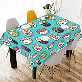 InterestPrint Tablecloth Cartoon Rolls and Sushi Home Decor 52 X 70 Inch, Kawaii Food Tasty Japanese Modern Fabric Desk Cover Table Cloth for Dining Room Kitchen Party Decoration