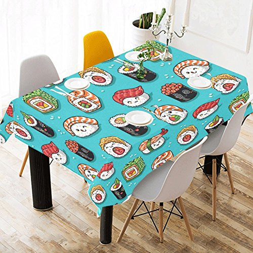 INTERESTPRINT Tablecloth Cartoon Rolls and Sushi Home Decor 52 X 70 Inch, Kawaii Food Tasty Japanese Modern Fabric Desk Cover Table Cloth for Dining Room Kitchen Party -
