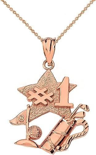 Sports Charms 14k Rose Gold Putter Golfer Pendant Necklace