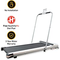 SmartTrack LLTM18 (1.5 HP Peak) Ultra-Thin Folding Motorized Treadmill with Max Speed 6km/hr, Diet Plan, Android & IOS App (Zero Installation Required)