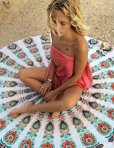 pwne La Mujer Ronda Boho Encubrimiento Chiffon Floral Blanco / Violeta / Verde / Rojo / Negro / Azul Oscuro Azul Oscuro One-Size White