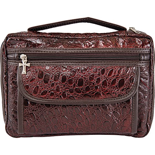 Embassy Alligator Embossed Genuine Leather Bible Cover, Protects and Shelters Your Bible Keeping It Safe and Offers Additional Storage, Burgundy