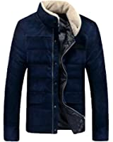 OUCHI Men's Stand Collar Corduroy Outwear Front-Zip with Snap Winter Down Coat