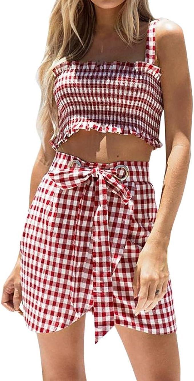 QinMM Camiseta Plaid Mujer Tops + Mini Falda Conjunto, Blusa Sin ...