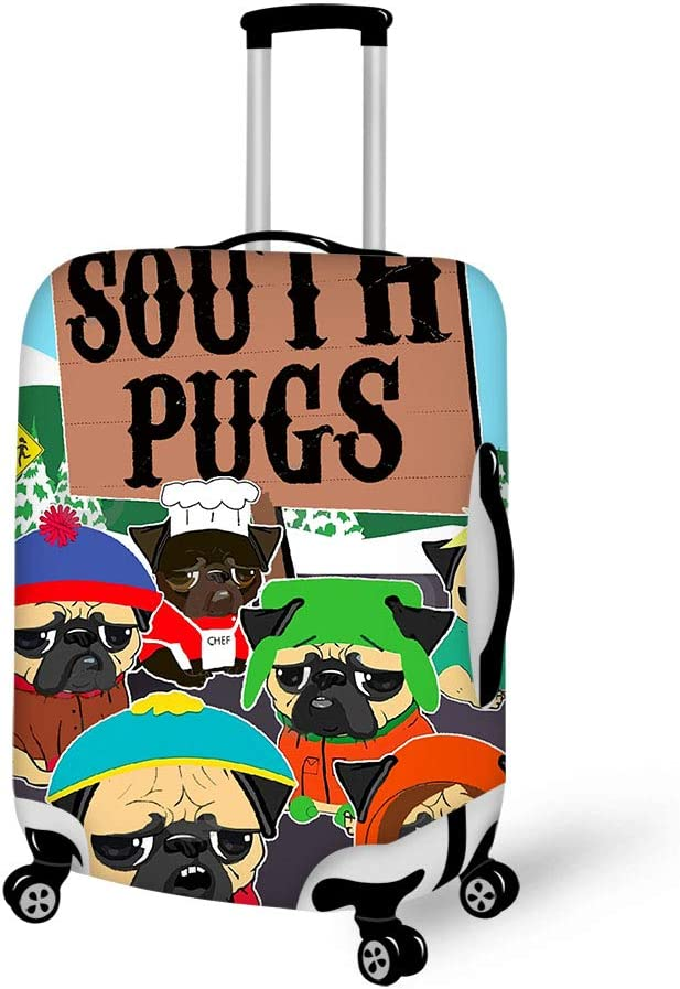 Luggage Cover South Pugs Funny Protective Travel Trunk Case Elastic Luggage Suitcase Protector Cover