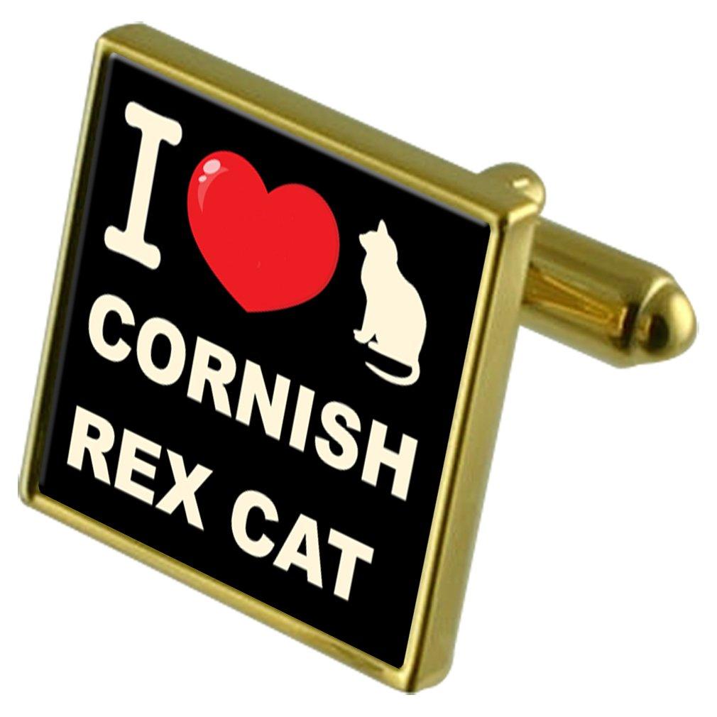 Select Gifts I Love My Cat Gold-Tone Cufflinks Money Clip Cornish Rex Cat