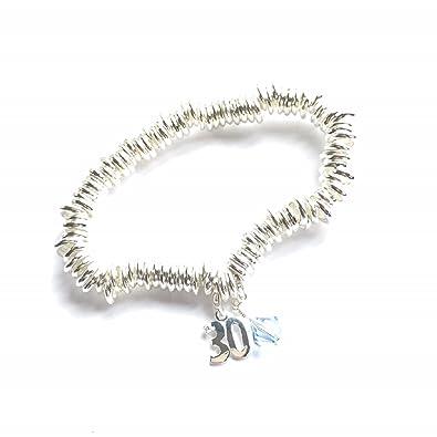 19b28b9efa6d 30th Birthday Silver Link Bracelet with Aquamarine Swarovski Elements and Sterling  Silver 30 Charm  Souloglyphics  Amazon.co.uk  Jewellery