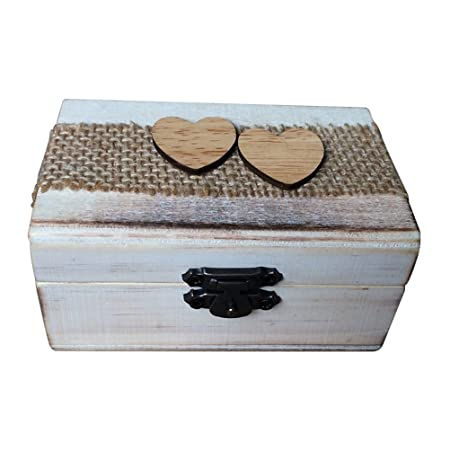 Ounona Wooden Ring Box Double Love Heart Rustic Engagement Wedding