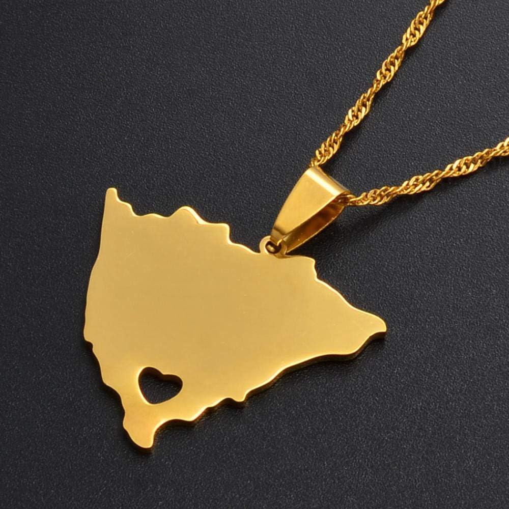 LLXXYY Collar Dama Mapa,Mapa De Nicaragua con Colgante Corazón Collares para Hombres Mujeres Color Oro Encanto Mapas Joyeria Étnica Patriótico Accesorios
