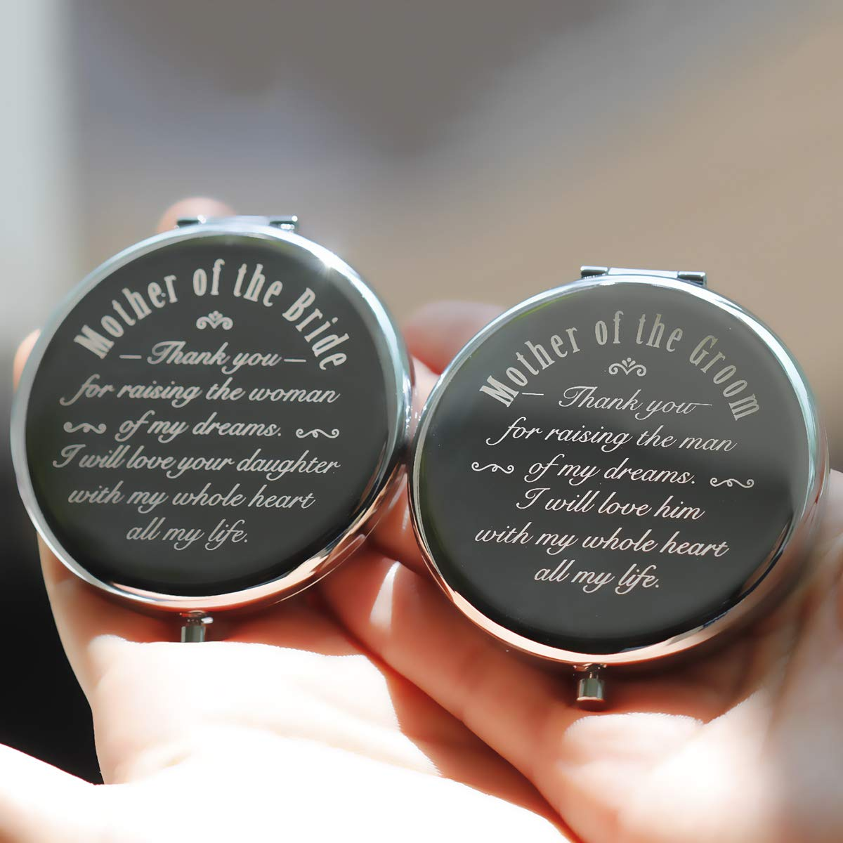 Mother of Bride and Groom, 2 Pieces,Unique Wedding Favor Gifts For Parents - Engagement Gifts For Mother In Law and Brides Mom-Makeup Mirror Silver