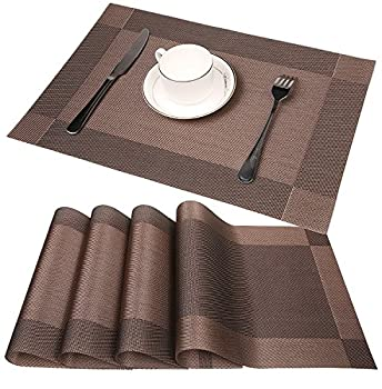 FitStill Dining Kitchen Table Placemats, Heat-resistant, Waterproof non-slip Natural Woven Look with Vinyl Wipe Clean Washable Splice Insulation Mats, Set of 4 (Dark Brown)