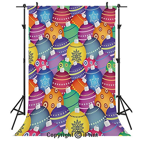 - Christmas Photography Backdrops,Colorful Christmas Balls Different Retro Patterns Holiday Celebration Decoration,Birthday Party Seamless Photo Studio Booth Background Banner 3x5ft,Multicolor