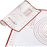 """Pastry Mat Pack of 3, Non-slip Reusable Silicone Baking Mats with Measurements and Conversion Charts for Rolling Dough, Cookie Sheet Large 23.62""""x 15.75"""", Medium 15.75""""x 11.81"""", Small 10.24"""" x 11.42"""""""