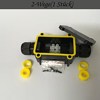 1 Pi/èce 2-Fa/çon 80*55*36mm Bo/îte de jonction /Étanche IP68 /Équip/é avec 3 Paires Taille Diff/érente de Bouchons de Silicone et 3-Canaux Borne de Fil