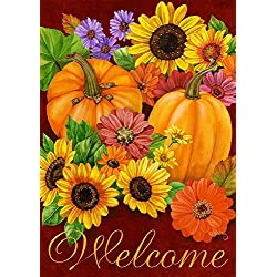 "Briarwood Lane Fall Glory Floral Garden Flag Pumpkins Sunflowers Autumn 12.5"" x 18"""