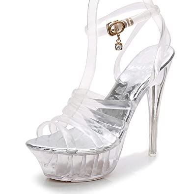 305d95f19db Shoes Women High Heel Sandals Sexy Crystal Transparent Women Shoes Fish  Head High Platform