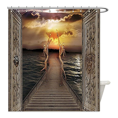 Liguo88 Custom Waterproof Bathroom Shower Curtain Polyester Fantasy Decor Gaze toward Heavens with Two Angels Dancing Dream Mystic Lands Fairy Image Taupe Golden Decorative bathroom