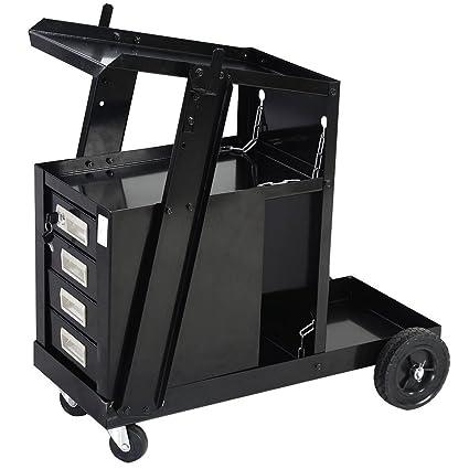 Universal carrito de soldadura portátil de 4 cajones ruedas acero depósito de MIG TIG ARC cortador