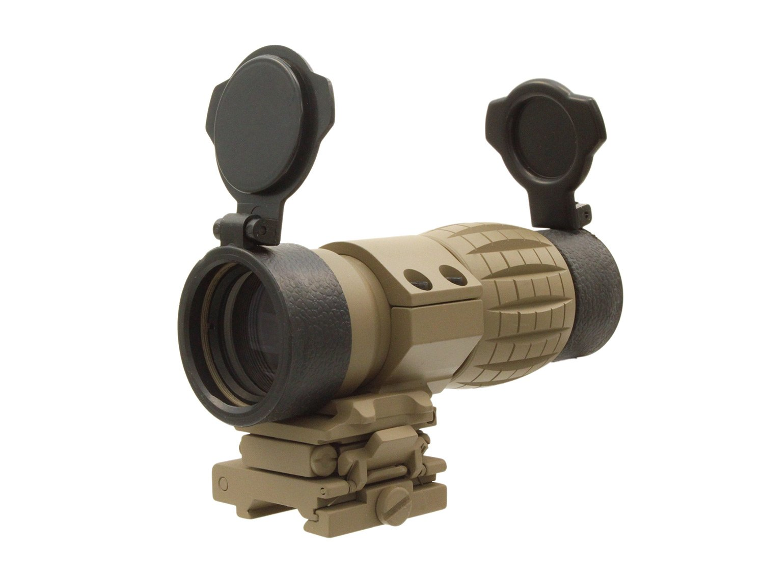BEGADI 4x Magnifier with Flip-To-Side Weaver Mount, incl. FlipUp Caps, TAN