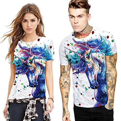 AHADOP Unicorn His & Hers T-Shirt Couples Matching Shirts by ADAHOP