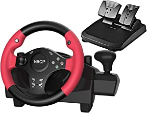 Gaming racing wheel 270 degree driving force vibration for PC / Nintendo Switch /PS3 / Android TV with pedals accelerator brake ( Red color )