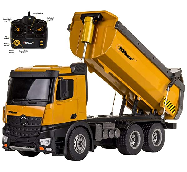 Top Race Remote Control Construction Dump Truck, RC Dump Truck Toy, Construction Toys Vehicle, RC Truck Toys, Big Heavy Duty Metal Construction Truck 1:14 Scale, 22 LBS Load Capacity TR-212