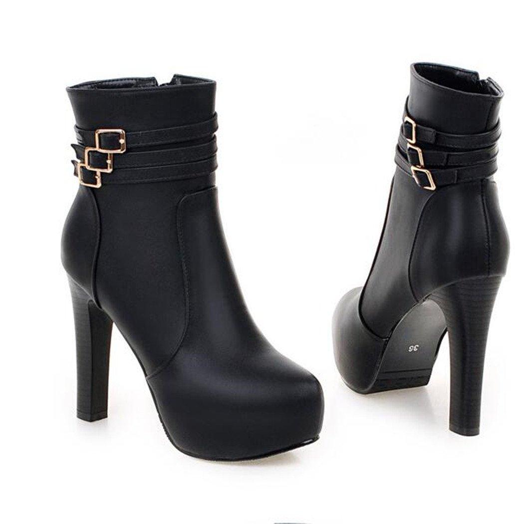 ZQ@QXHerbst und ultra-stylische Winter runden Kopf dick mit Schuhe mit ultra-stylische und Seite Reißverschlussaufladungen weibliche Stiefel  schwarz 2ffbf5