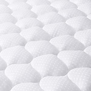 JUEYINGBAILI Mattress Pad King Mattress Topper - Quilted Fitted Cooling King Mattress Pads - Overfilled with Breathable Snow Down Alternative Filling Mattress Cover