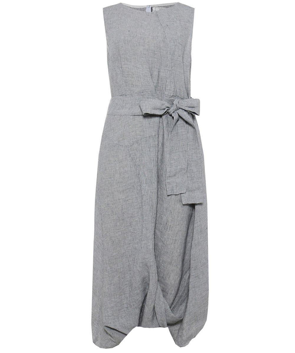 Grizas Women's Linen Fine Check Midi Dress Natural L