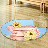 Round Rug Kid Carpetpanty liners in individual packing and yellow flowers on blue background close Home Decor Foor Carpe-Round 59'