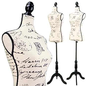 Female Postage print vintage-style fabric Mannequin Dress Form