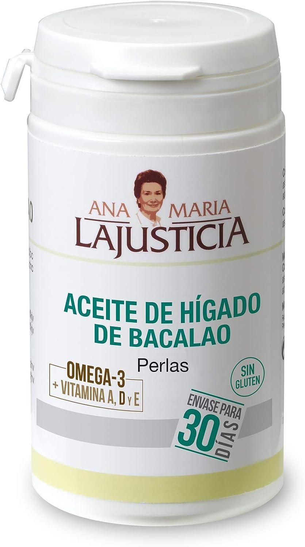 Ana Maria Lajusticia - Aceite de higado de bacalao, 90 perlas aporte de vitamina a, d y e y ácidos grasos omega 3, Envase para 30 días de tratamiento