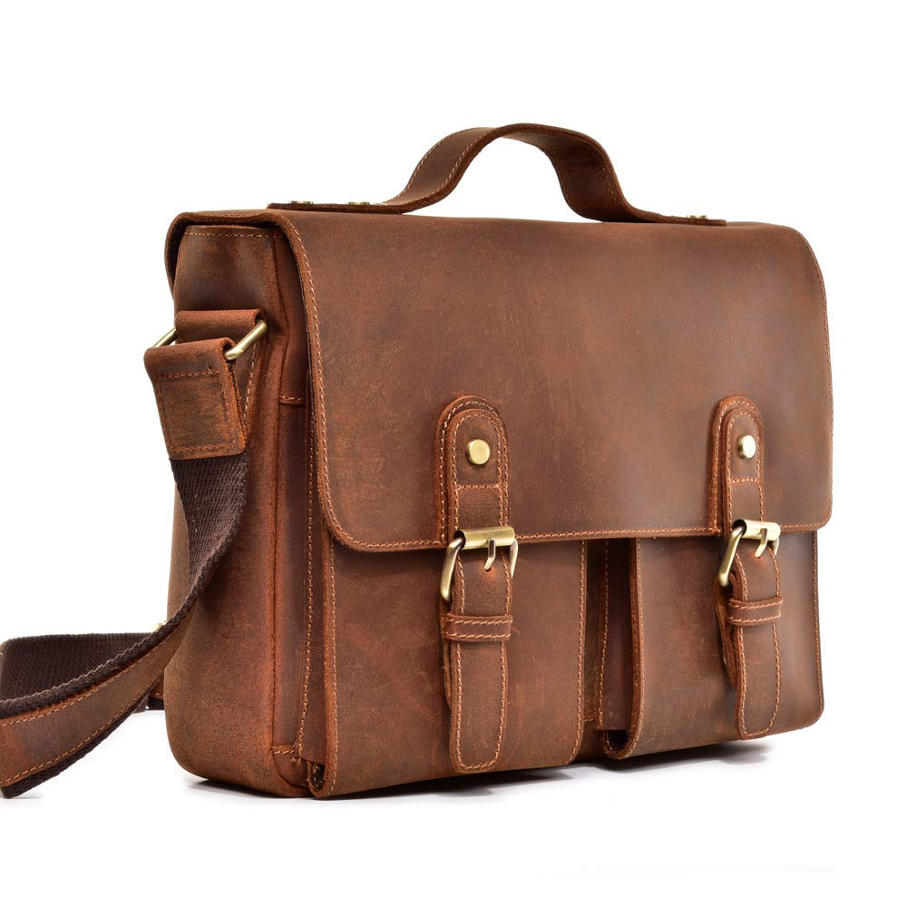 LXIANGP Mens Leather Portable Briefcase Business Computer Bag Retro Shoulder Diagonal Package Work Business Negotiation Package