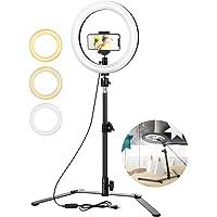 ELEGIANT 10-calowy statyw LED ze statywem, statyw do selfie z możliwością ściemniania 3 kolorów światła + 10 poziomów…