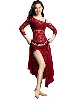d30720f0447ec Professional Floral Prints Hollow Out Lace Belly Dance Dress Belly Dance  Costumes Belly Dance Skirts for