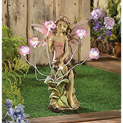 Fairy Garden Solar Statues Concrete Sculptures Outdoor Decor Resin Disney Angel Lawn Yard Patio Ornament : Garden & Outdoor