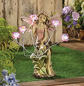 Amazon.com : Fairy Garden Solar Statues Concrete Sculptures Outdoor ...