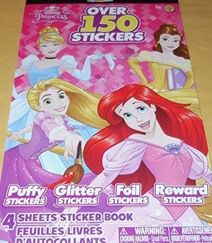 Disney Princess Stickers - 4 Designs - Puffy Stickers, Glitter Stickers, Foil Stickers & Reward Stickers - 150+ Stickers