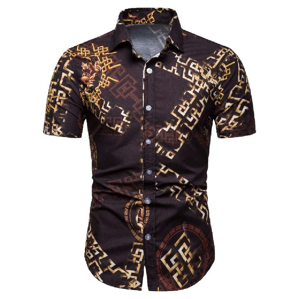 Yingshif Mens Button Down Fashion Flowered Printed Short Sleeve Shirts