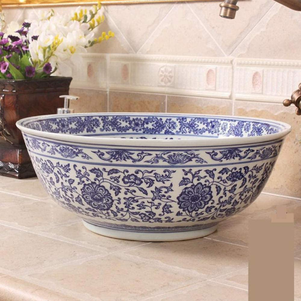C/éramique Art Basin Blue And White Lotus Washbasin countertop round bathroom bathroom Lavabo en c/éramique