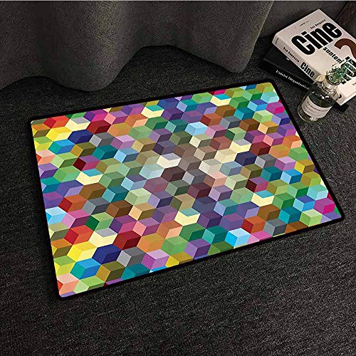 Abstract Home Decor Collection Door mat Customization Color Cubes Mosaic Party Festive Theme Modern Fun Geometric Artwork with Anti-Slip Support W16 xL24 Olive Blue Purple Teal