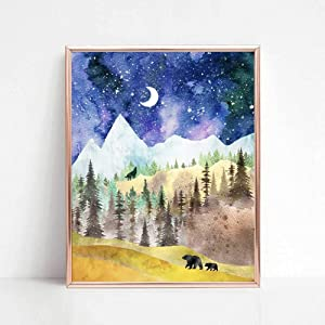 Mountain Art Print, Nature Print, Wild Nature Art, Forest Decor, Watercolor Painting, with Animals, Outdoor Print, 8x10 inch No Frame