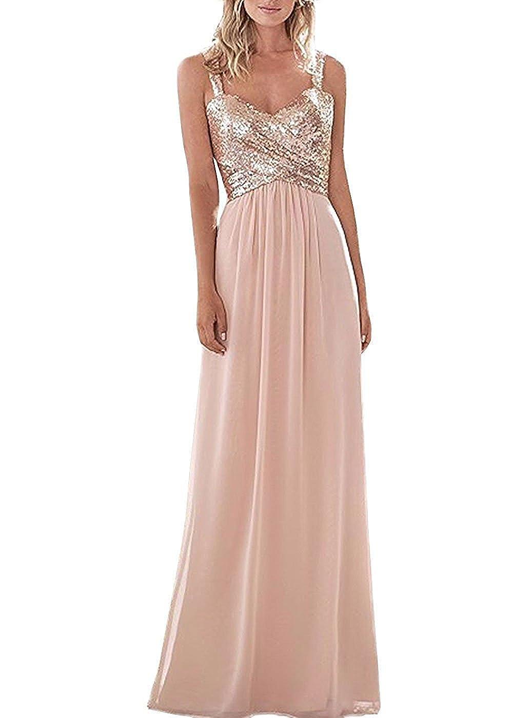 bluesh C LL Bridal Top Sequins pink gold Bridesmaid Dress Long Prom Party Dresses Evening