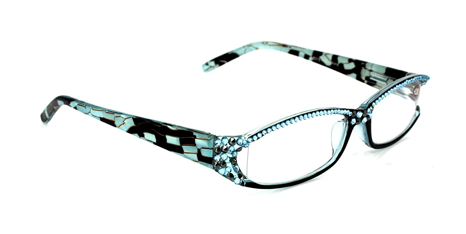 73fcd593a290 Marble Print Full Top Aquamarine Swarovski Crystals Bling Reading Glasses  For Women. +1.50