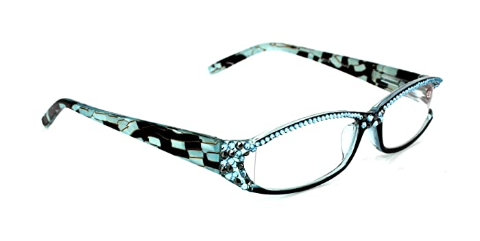 03e10b0a96a Image Unavailable. Image not available for. Color  Marble Print Full Top  Aquamarine Swarovski Crystals Bling Reading Glasses ...