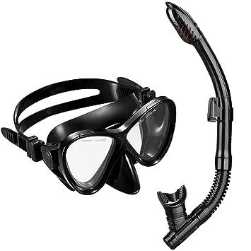 OMORC Gafas y Tubo de Buceo, Top Set de Snorkel con Templado antiniebla Cristal Máscara