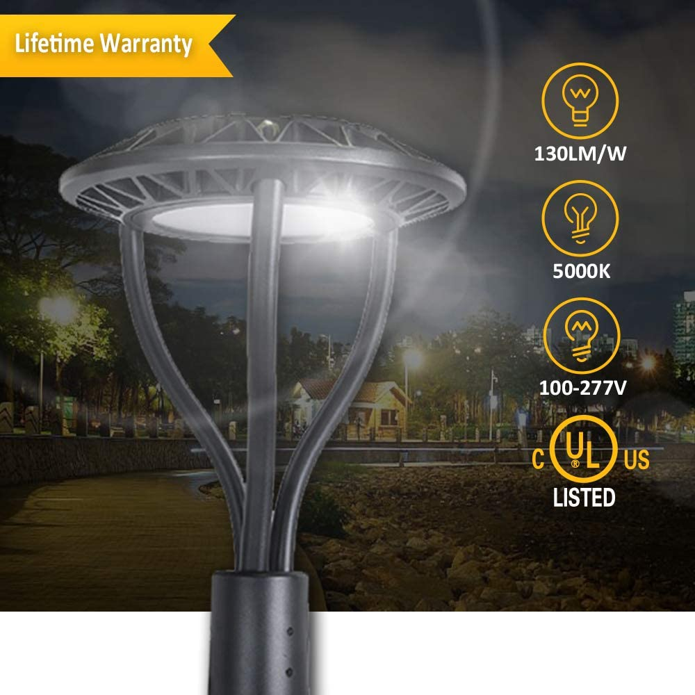 7800lm 5000k Waterproof Outdoor Lamp Post Light UL//DLC Listed Street Garden Yard Commercial Area Tenaxi Post Top Light 60W Standard 60W LED Circular Area Light 300W HID//HPS Replacement