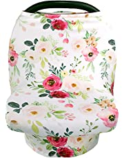 Stretchy Baby Carseat Cover with 4-in-1 Multi-use for Baby Carseat & Nursing/Versatile Breastfeeding Scarf & Stroller & Feeding high Chair Cover for Baby Girls by TIANNUOFA (Flower)